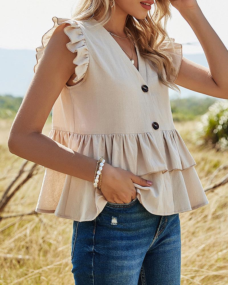 Ruffles Hem Button Design Casual Top, boutiquefeel, khaki  - buy with discount