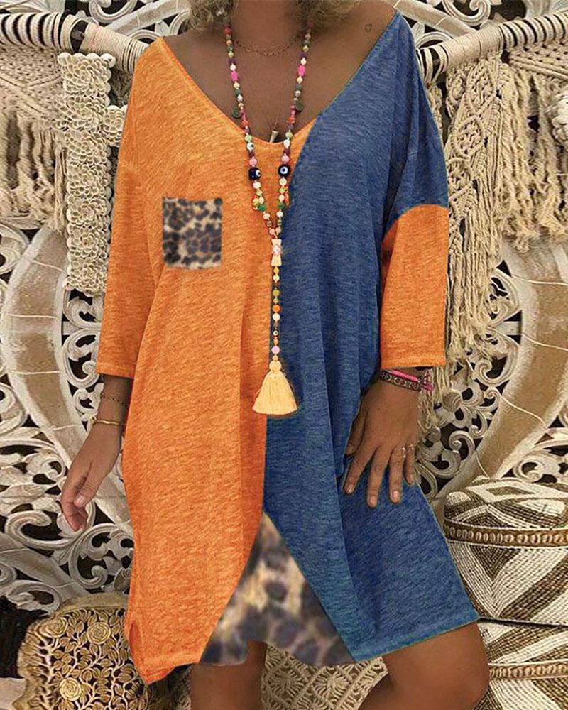 Colorblock Loose Casual Dress thumbnail