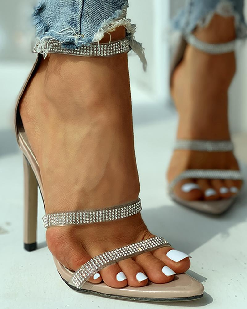 Studded Ankle Strap Open Toe Thin Heels