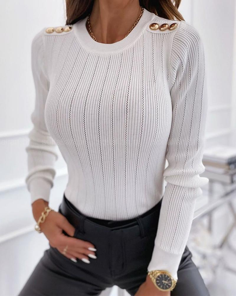 Solid Long Sleeve Slim Buttons Splicing Blouse thumbnail