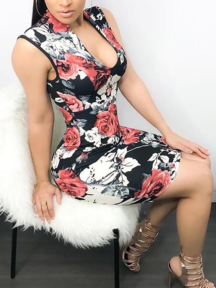 Sleeveless Low Cut Floral Print Bodycon Mini Dress