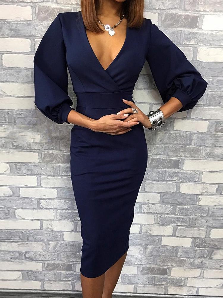 boutiquefeel / Deep V Lantern Sleeve Midi Dress