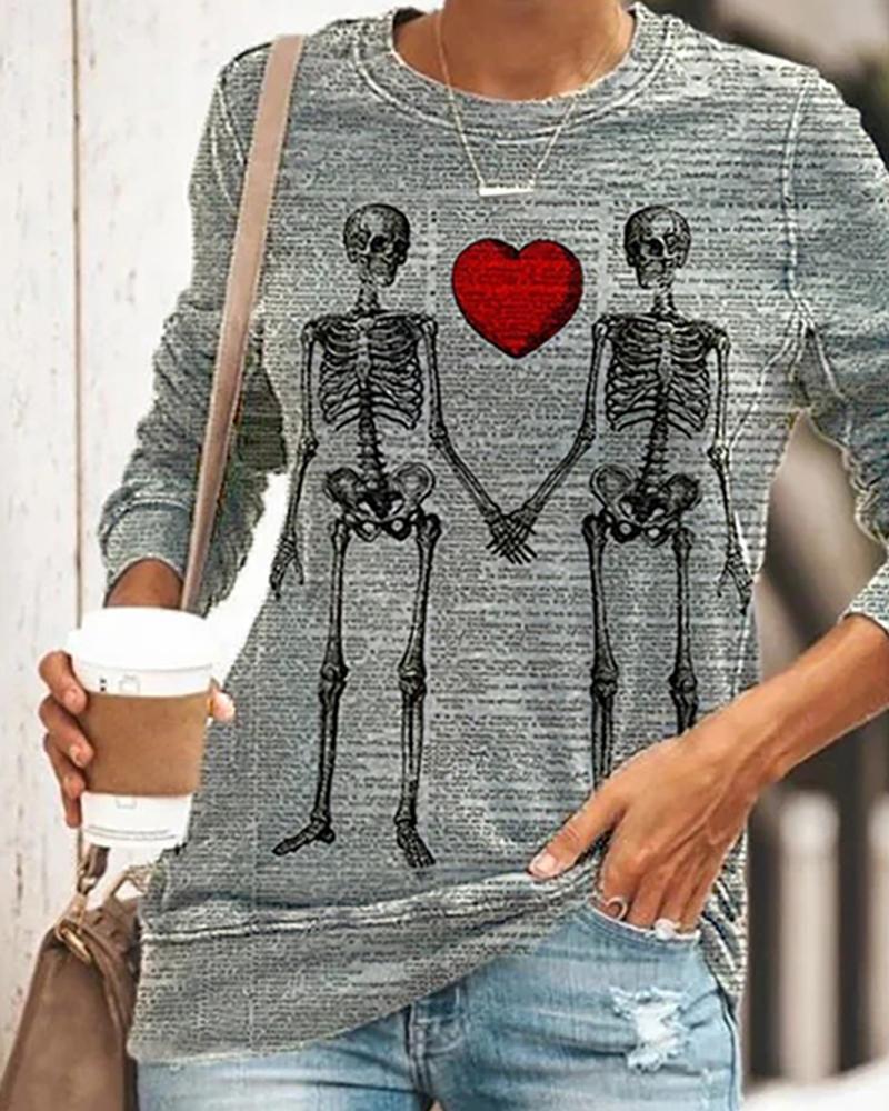 Halloween Skeleton Heart Print Long Sleeve Top thumbnail