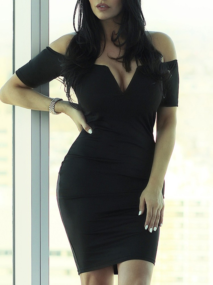 boutiquefeel / Solid Off Shoulder Short Sleeve Bodycon Dress