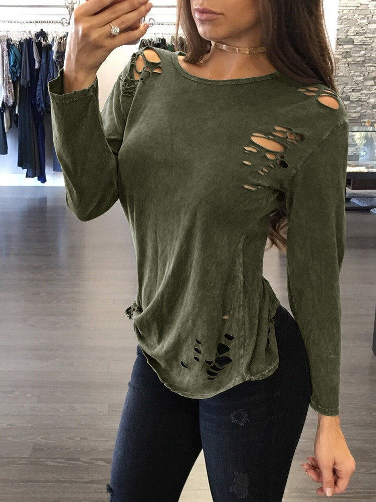 Trendy One Shoulder Ripped Casual T-shirt
