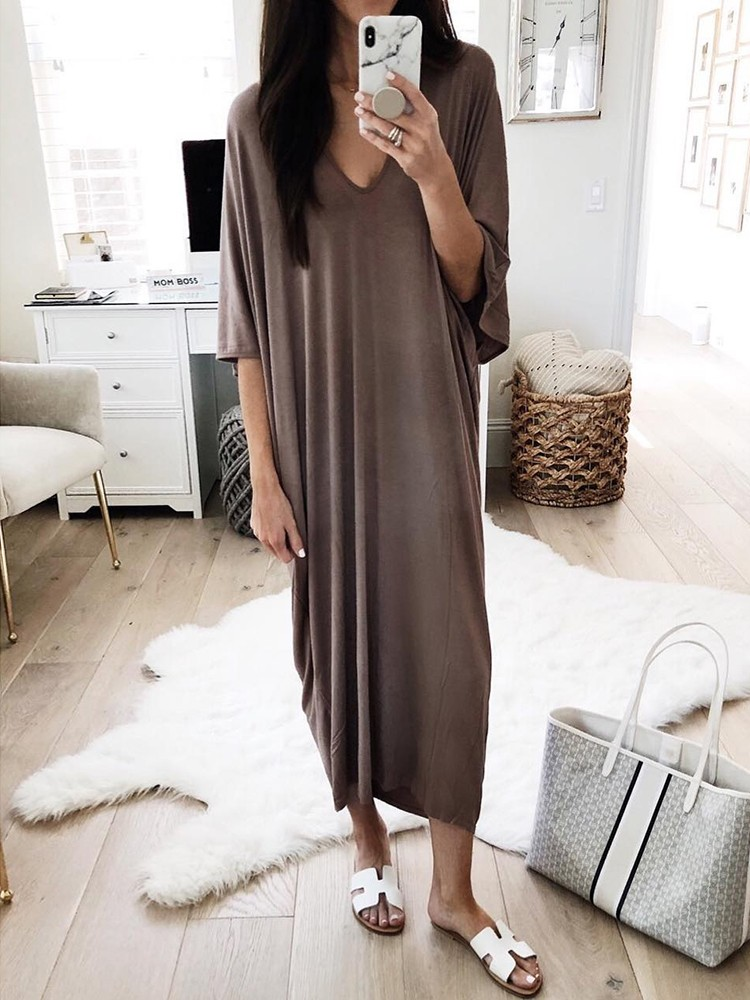 Solid V Neck Batwing Sleeve Casual Dress