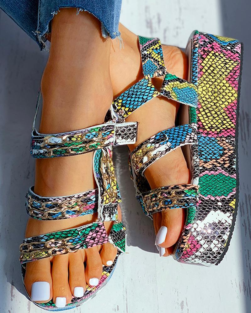 Snakeskin Pattern Velcro Platform Sandals thumbnail