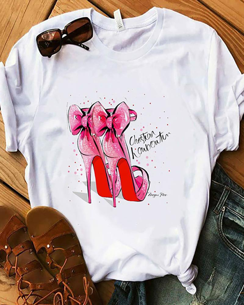 Animal / Figure / Graphic / Letter Print Round Neck T-Shirt, Style4
