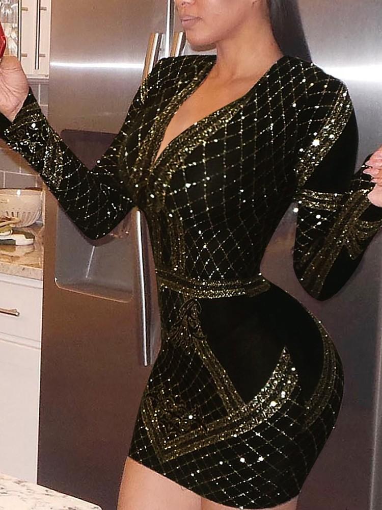 Sequins Deep V Mini Bodycon Dress