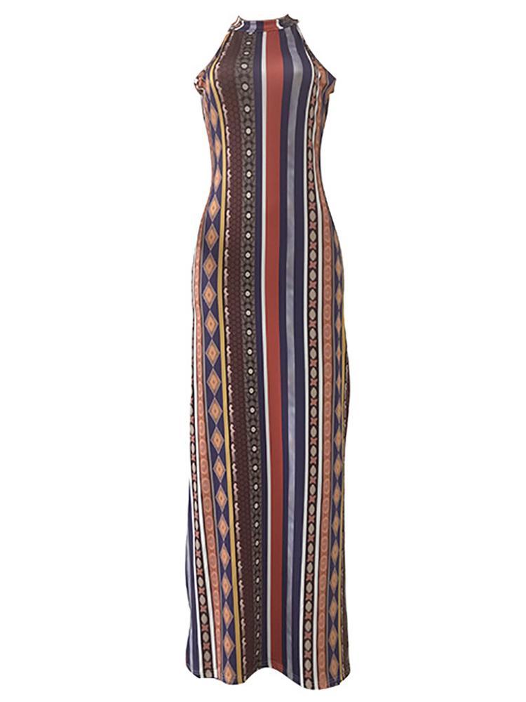boutiquefeel / Tribal Print Sleeveless Slit Dress