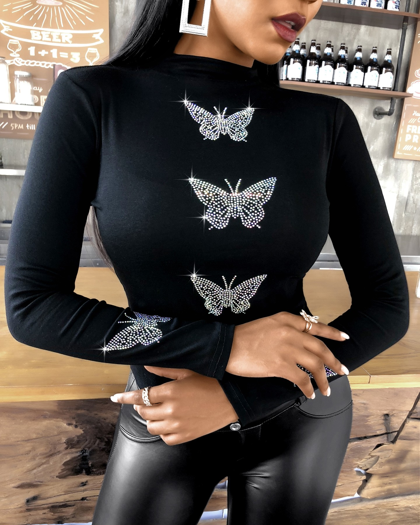 Butterfly Pattern Studded Long Sleeve Top