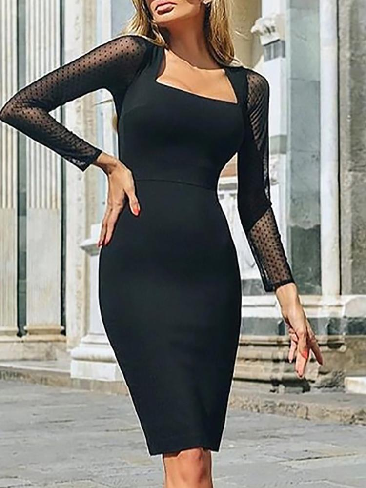 boutiquefeel / Square Neck Mesh Sleeve Bodycon Dress