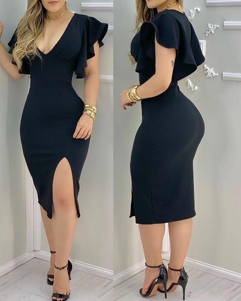 Plain Flutter Sleeve Plunge Slit Midi Dress, Black