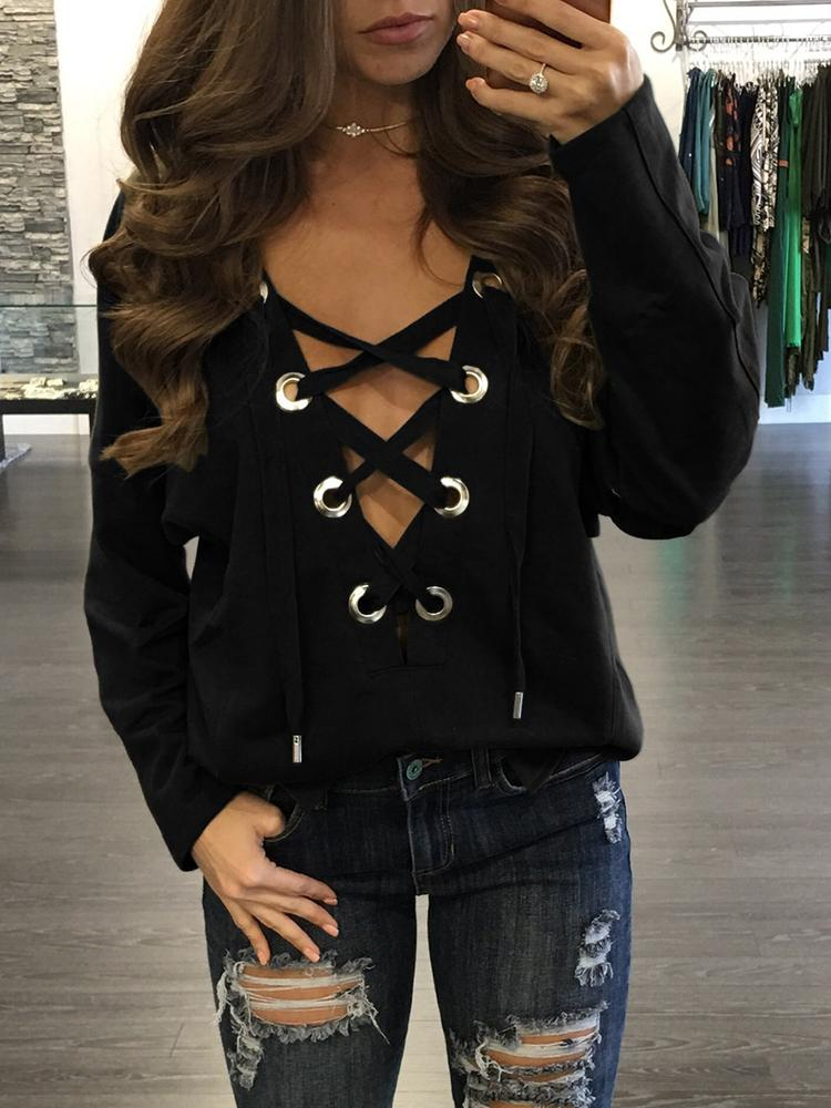 Fashion Lace-up Loose Blouses