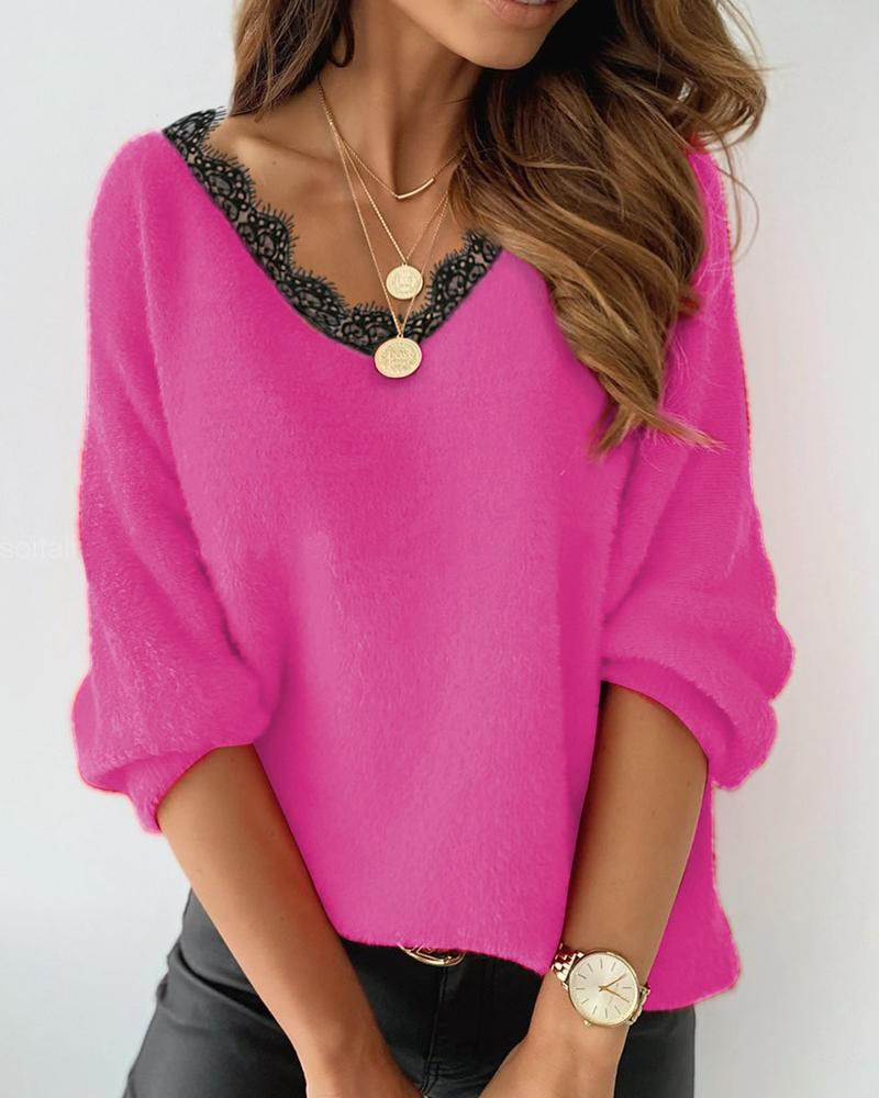 Eyelash Lace Trim Fluffy Sweater