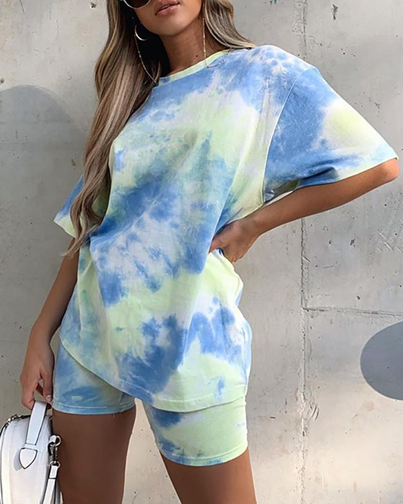 Tie Dye Print Short Sleeve Casual Top & Shorts Set thumbnail