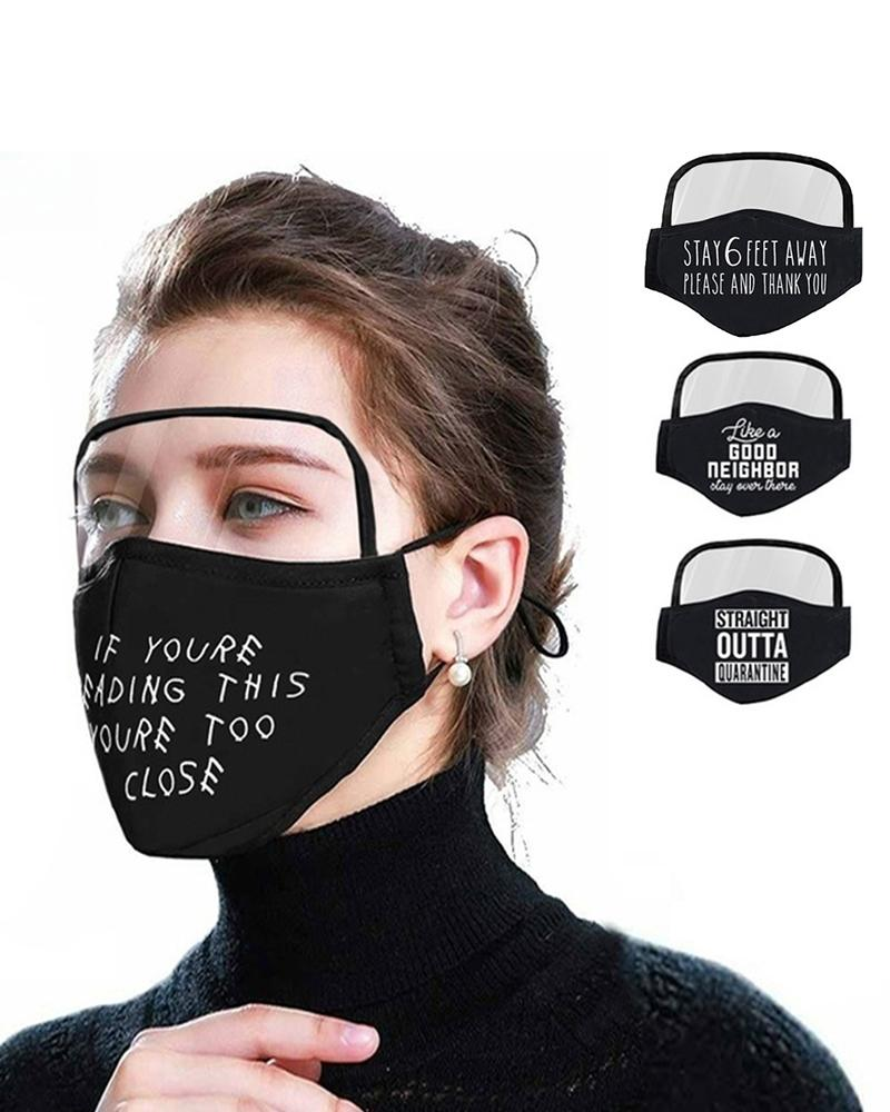 Letter Print Breathable Outdoor Face Protective Face Mask With Eyes Shield thumbnail