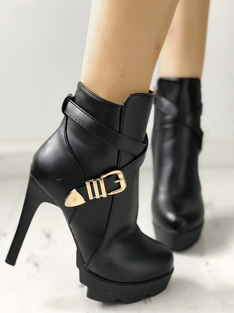 boutiquefeel / Crisscross Buckle Platform Thin Heeled Ankle Boots