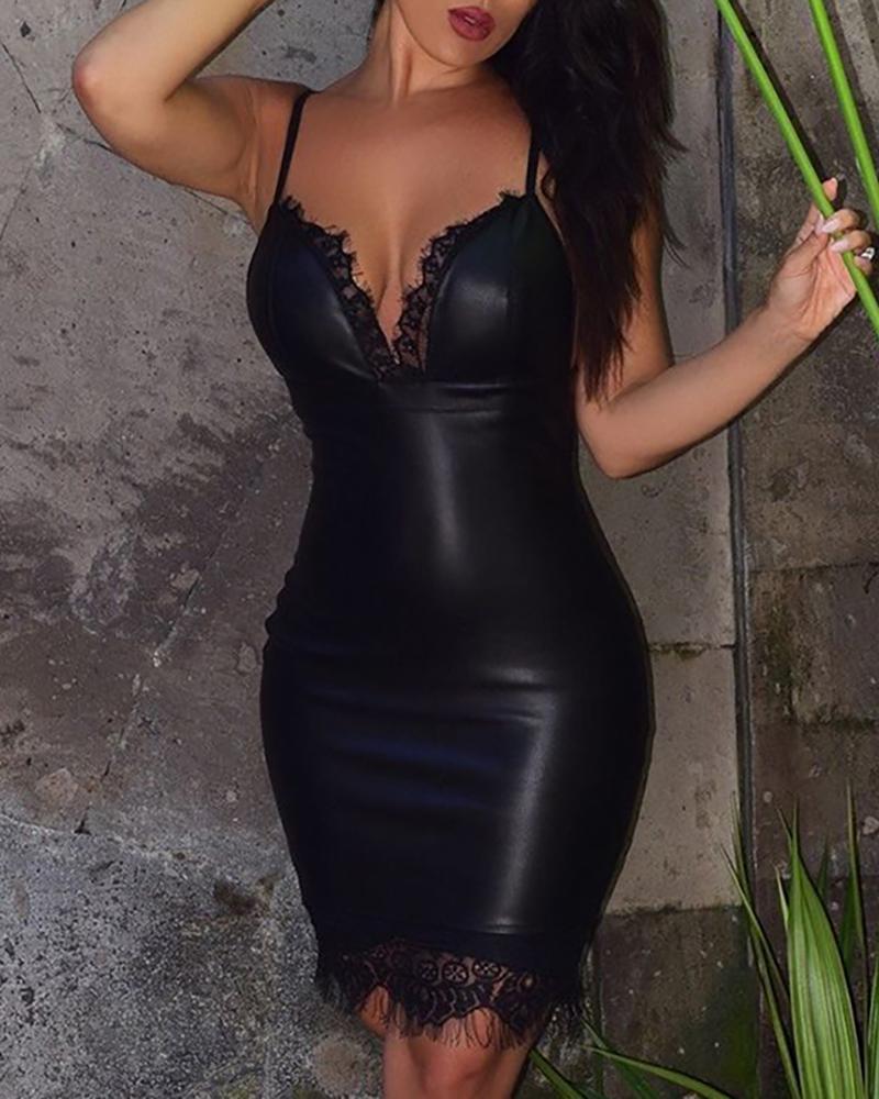 Spaghetti Strap Eyelash Lace PU Leather Bodycon Dress
