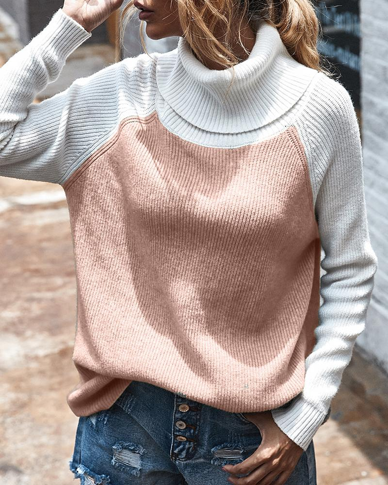 Knit High Neck Colorblock Casual Sweater thumbnail