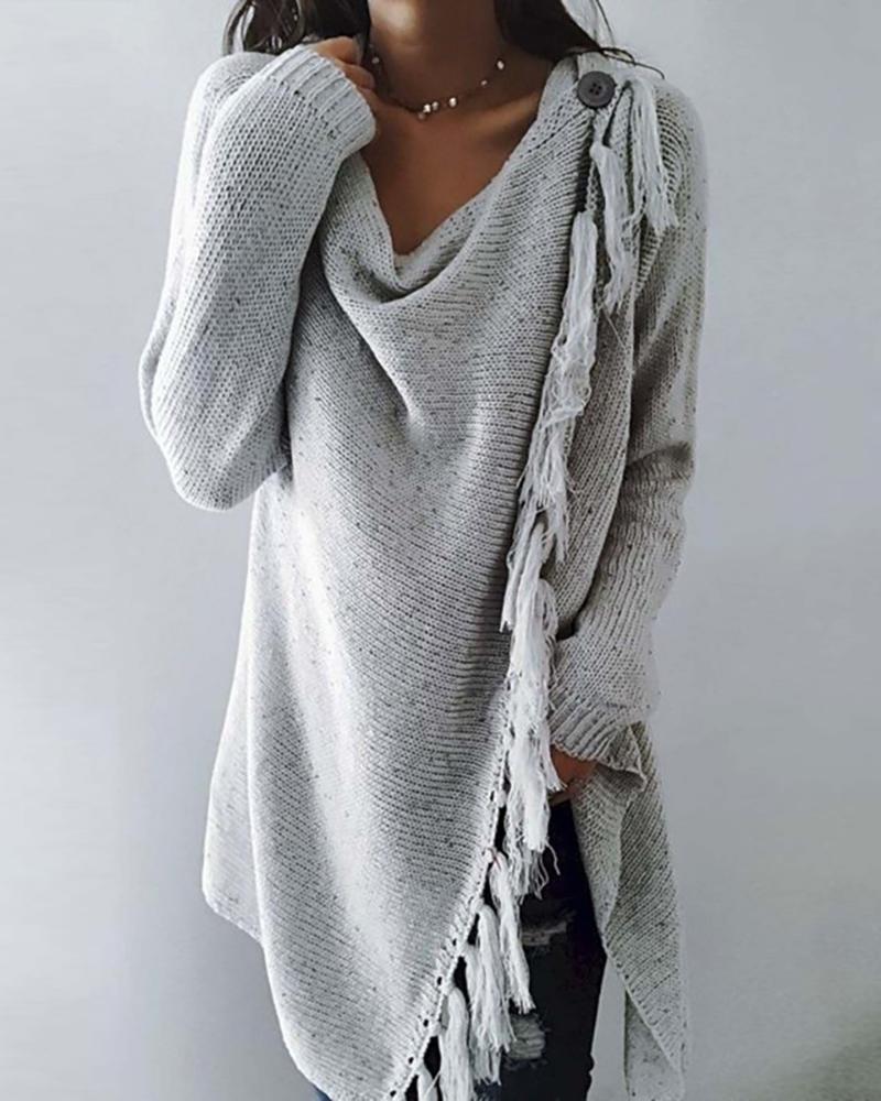 Button Decor Tassel Design Slit Sweater