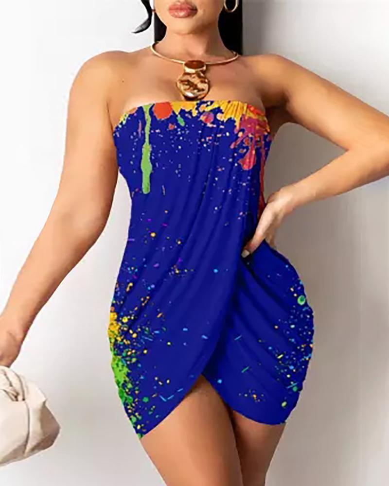 Tie Dye Print Colorblock Bandeau Bandage Dress