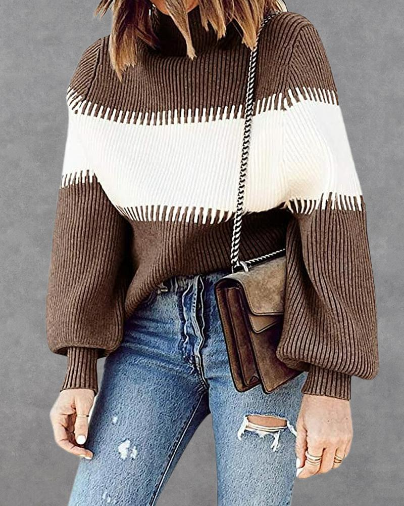 Colorblock Ribbed High Neck Sweater thumbnail