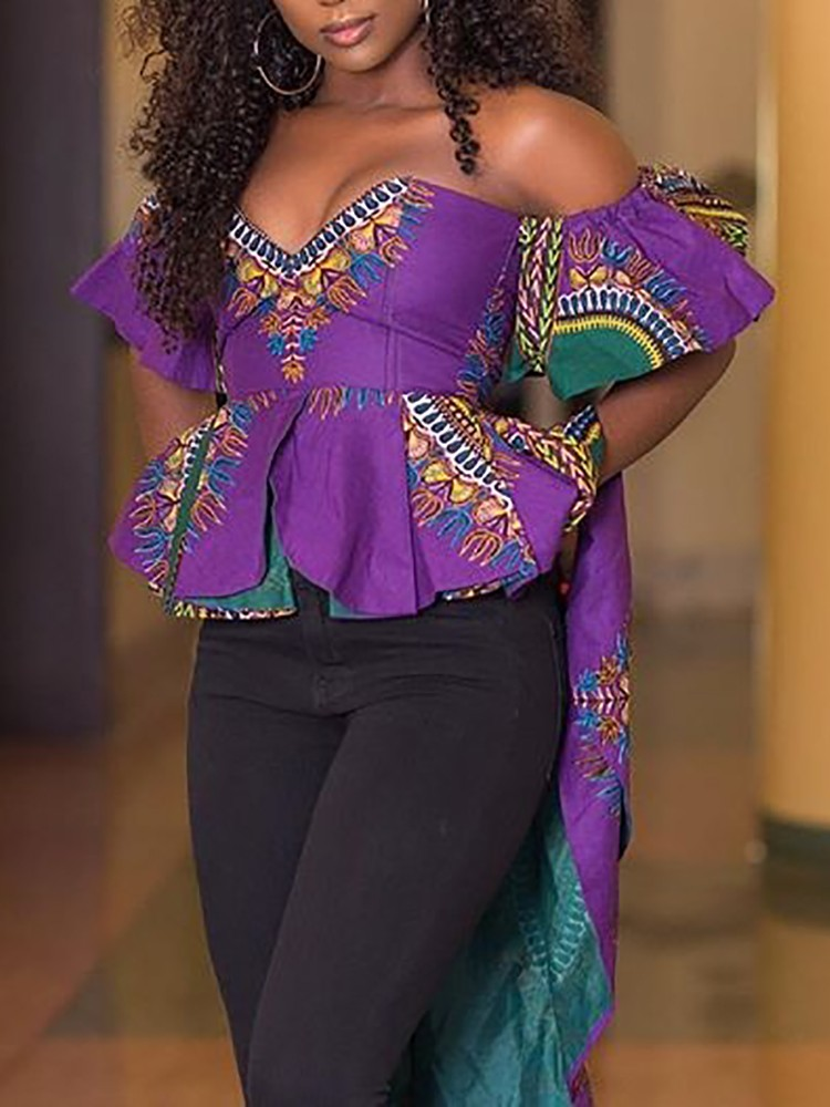 Ethnic Style Off Shoulder High-low Ruffled Blouse