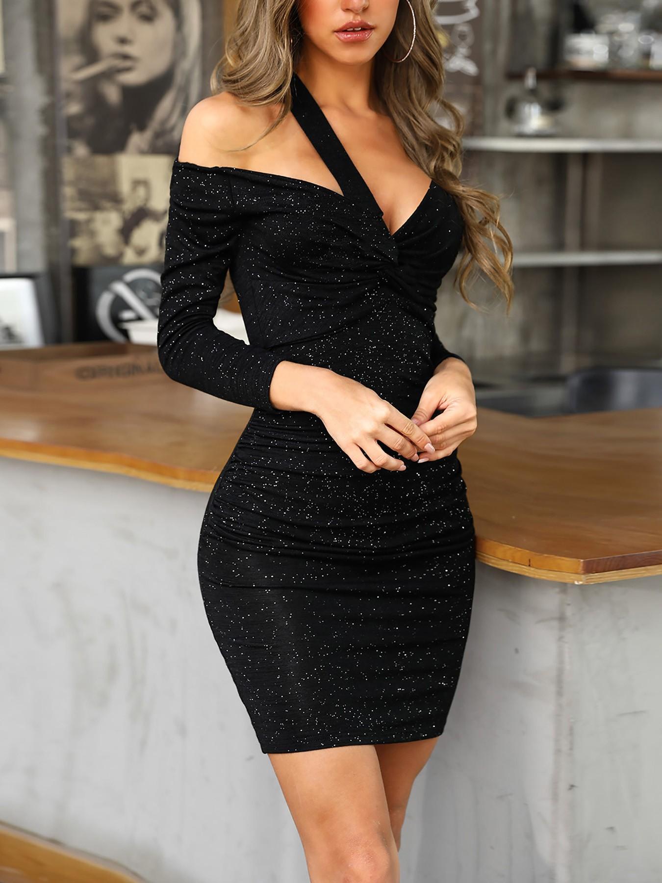 Glitter Cut Out Shoulder Bodycon Dress