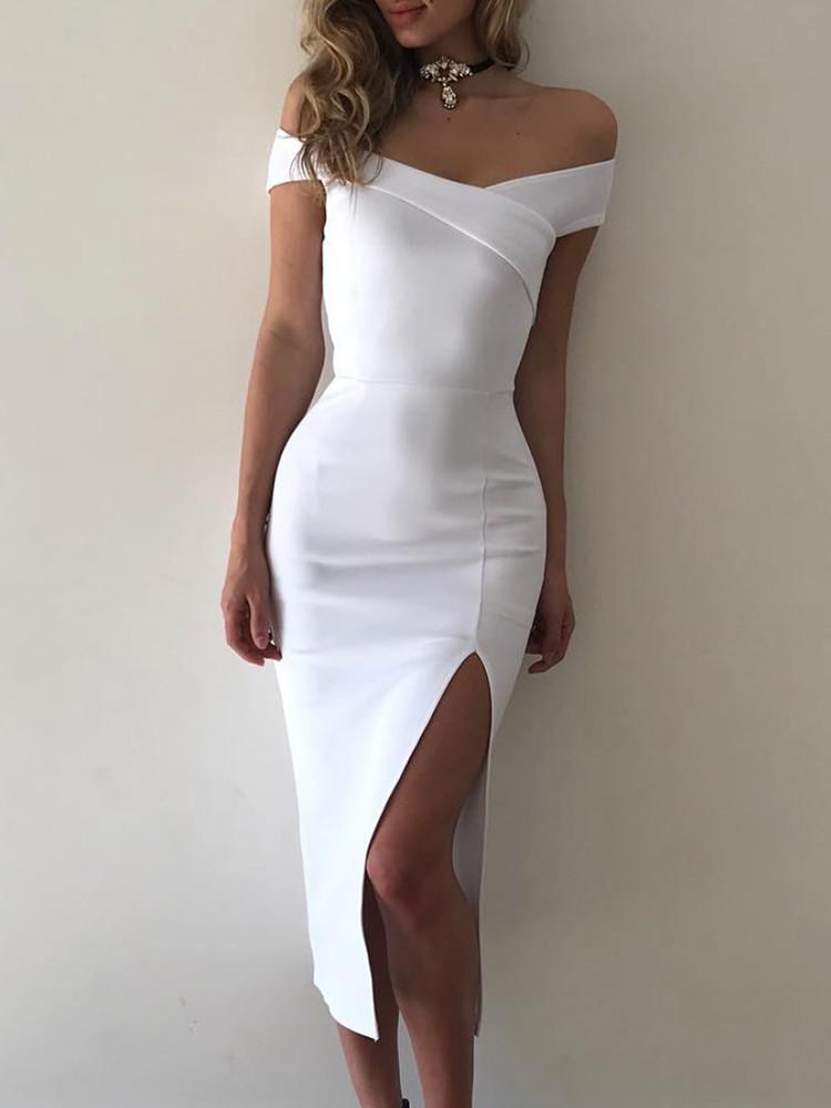 Elegant Off Shoulder Cross Slit Bodycon Dress