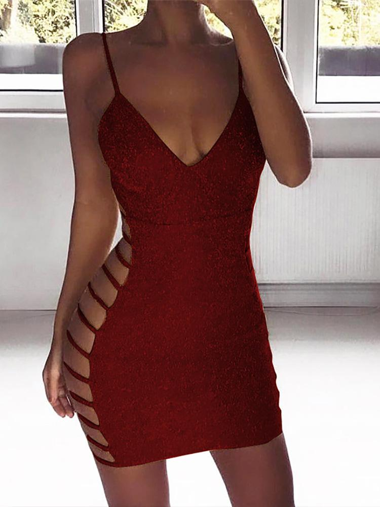 boutiquefeel / Shiny Ladder Cut Out Side Party Dress