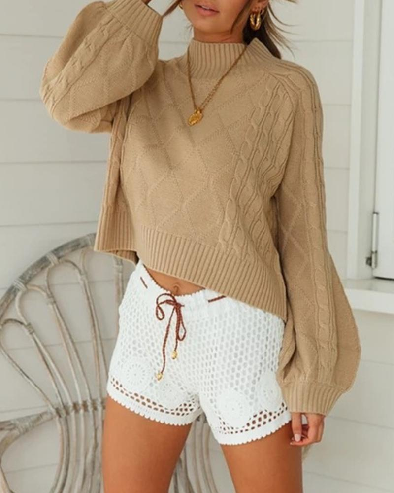 Casual Solid Cozy Lantern Sleeve Sweater thumbnail