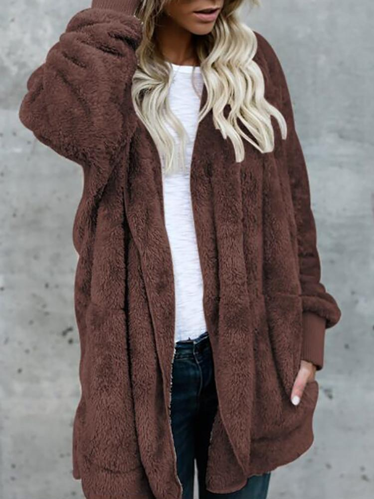 Joyshoetique coupon: Warm Solid Pocket Design Hoodies Fluffy Coat - Coffee