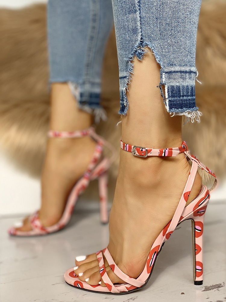 Lips Pattern Ankle Buckle Thin Heeled Sandals