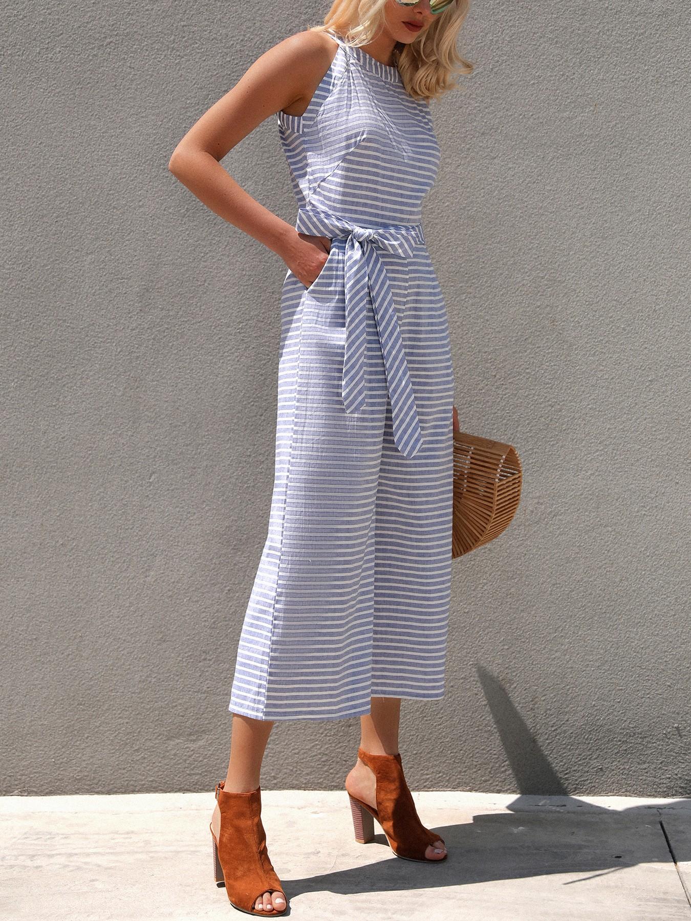 33b8e14800e Striped Waist Belted Wide Leg Jumpsuit Online. Discover hottest ...