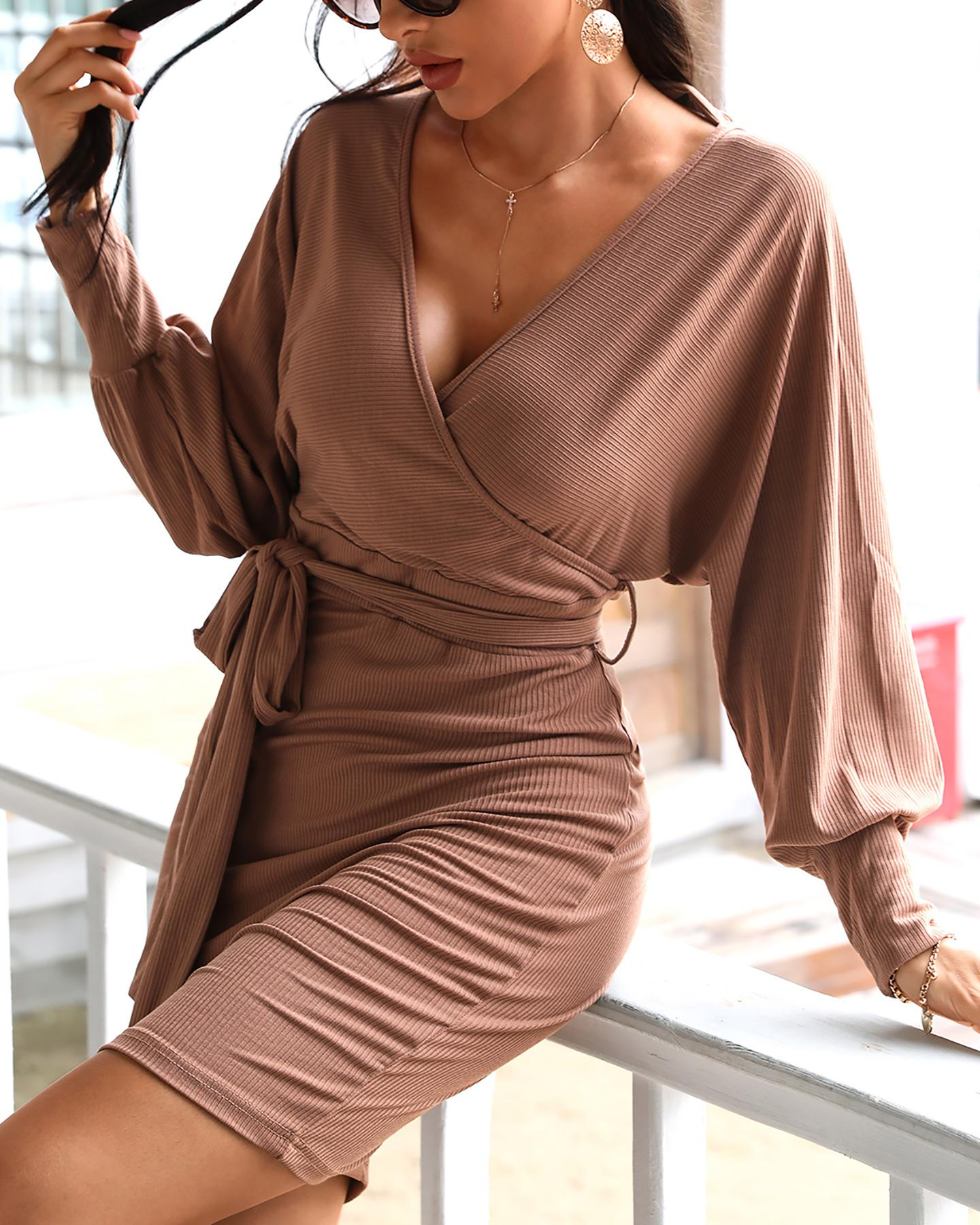 Surplice Wrap Batwing Sleeve Ribbed Dress thumbnail