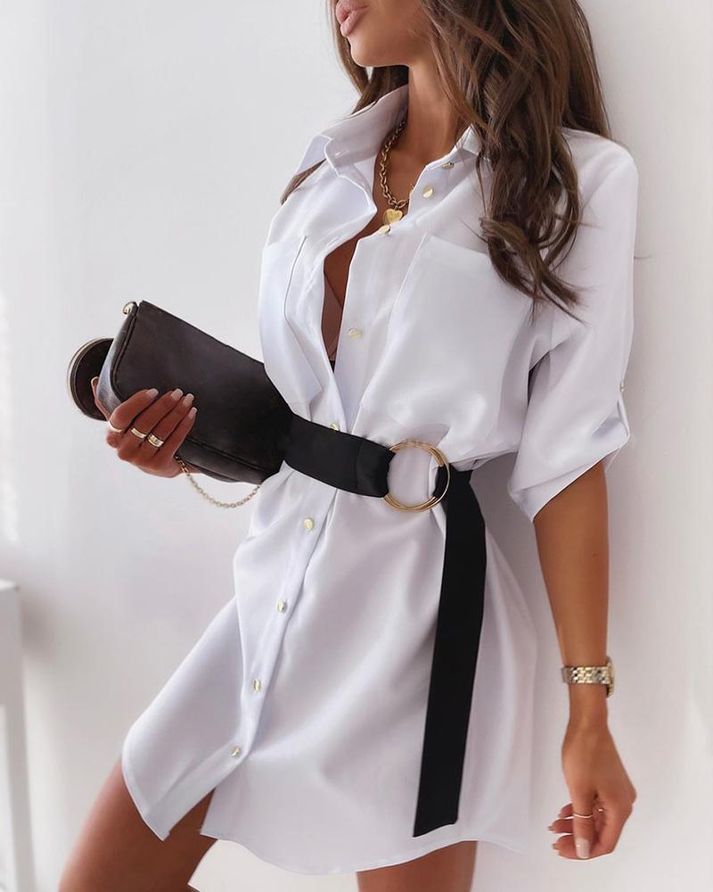 ivrose / Button Front Half Sleeve Shirt Dress With Belt