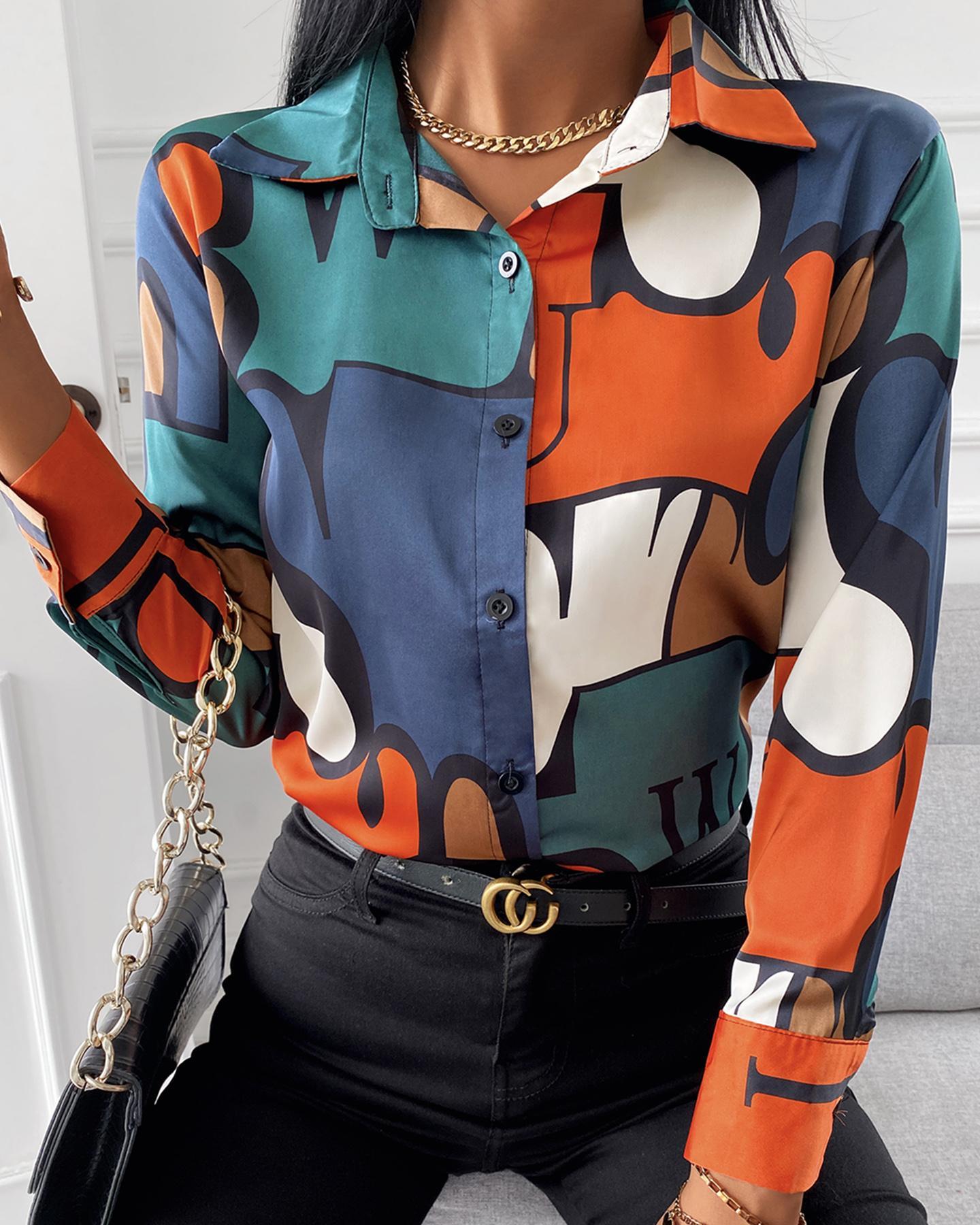 ivrose / Colorblock Long Sleeve Button Design Casual Shirt