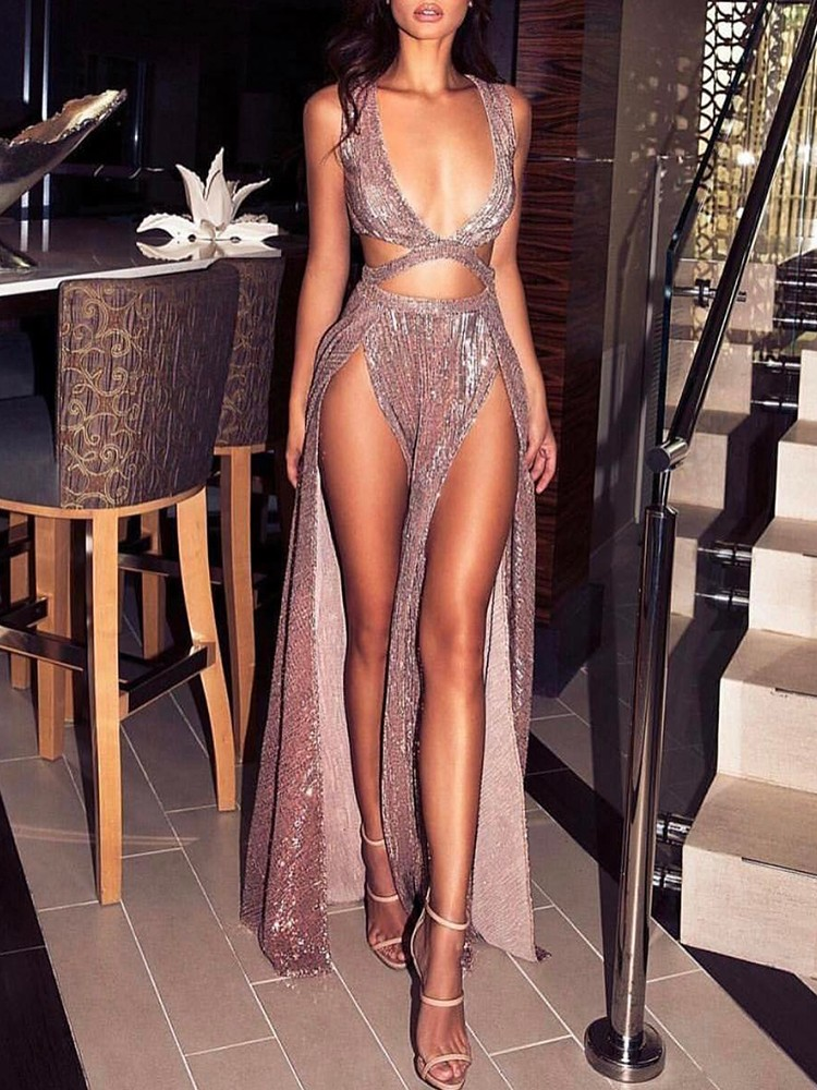 Sparkly High Slit Cut Out Maxi Plunge Dress