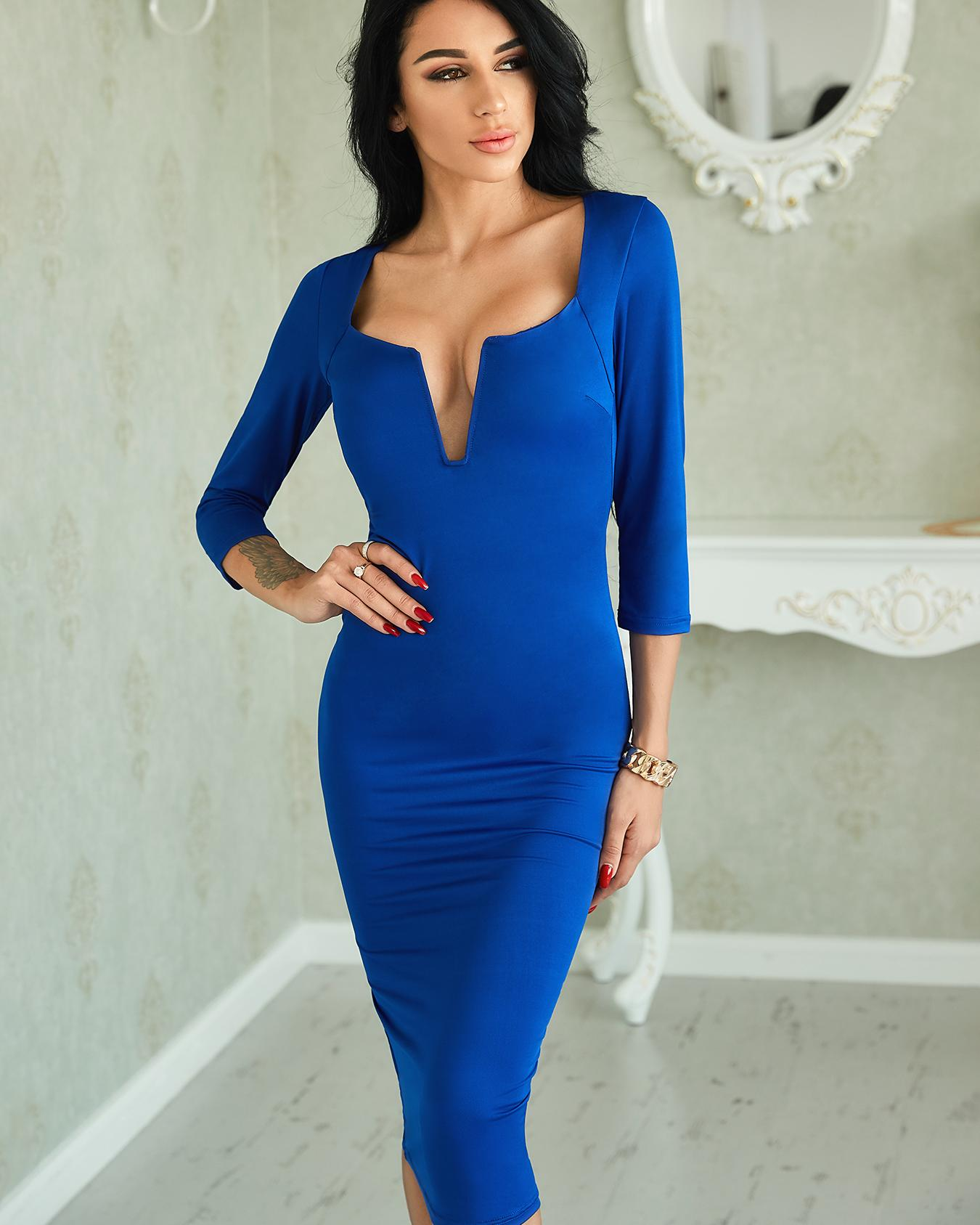 Ivrose coupon: Sexy V Neck Solid Sheath Midi Dress