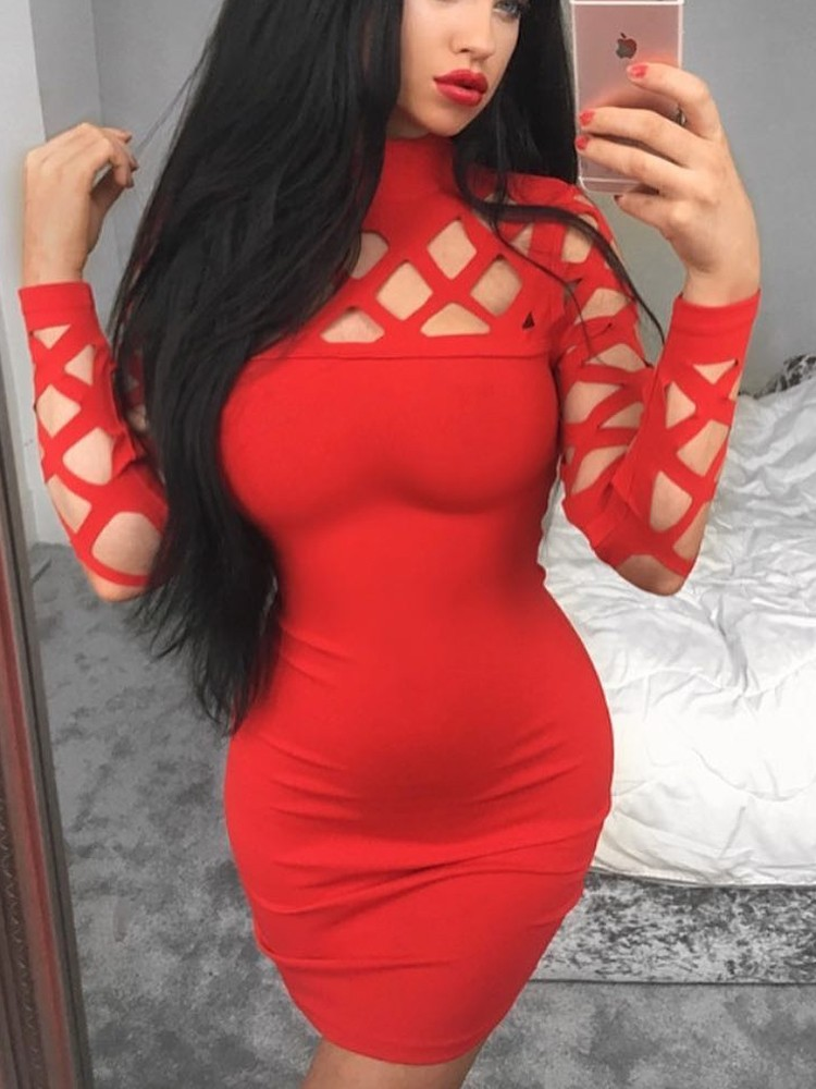 Fashion Sexy Caged Slim Fit Bodycon Dress