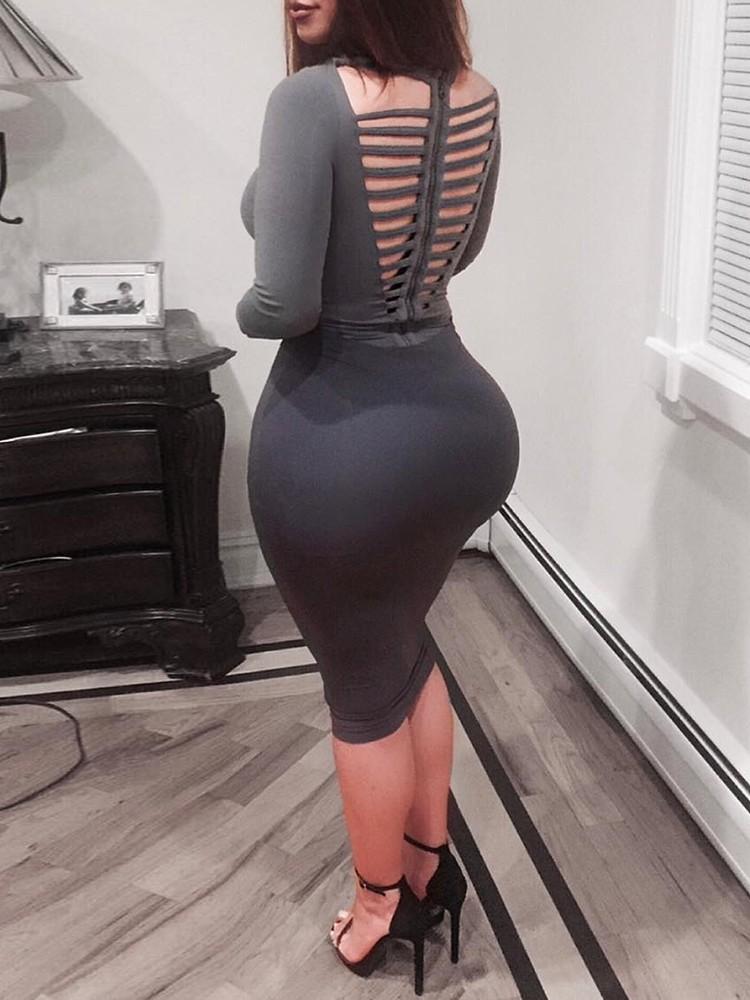 Long Sleeve Hollow Back Mini Dress