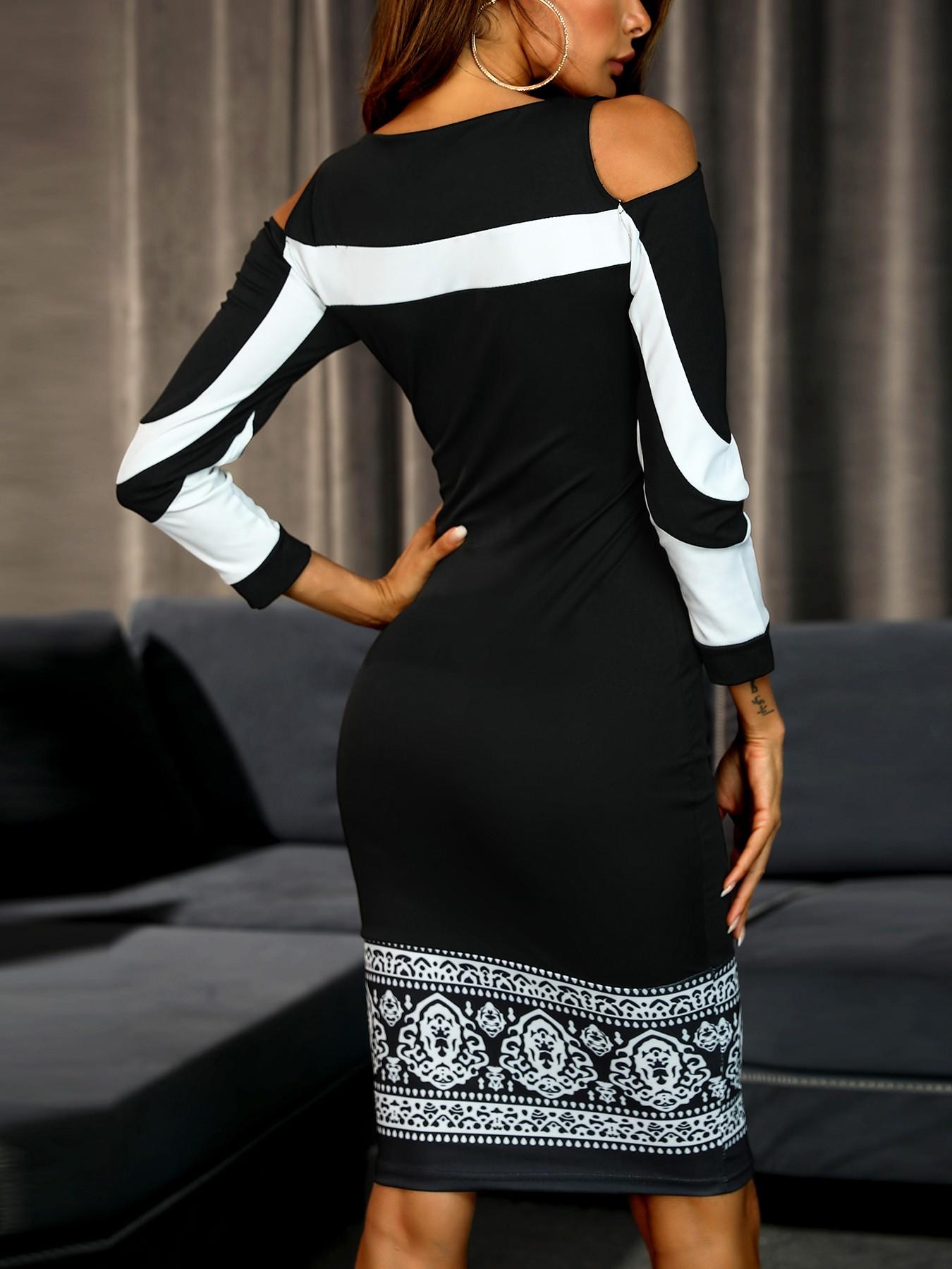 boutiquefeel / Cold Shoulder Colorblock Insert Slinky Dress