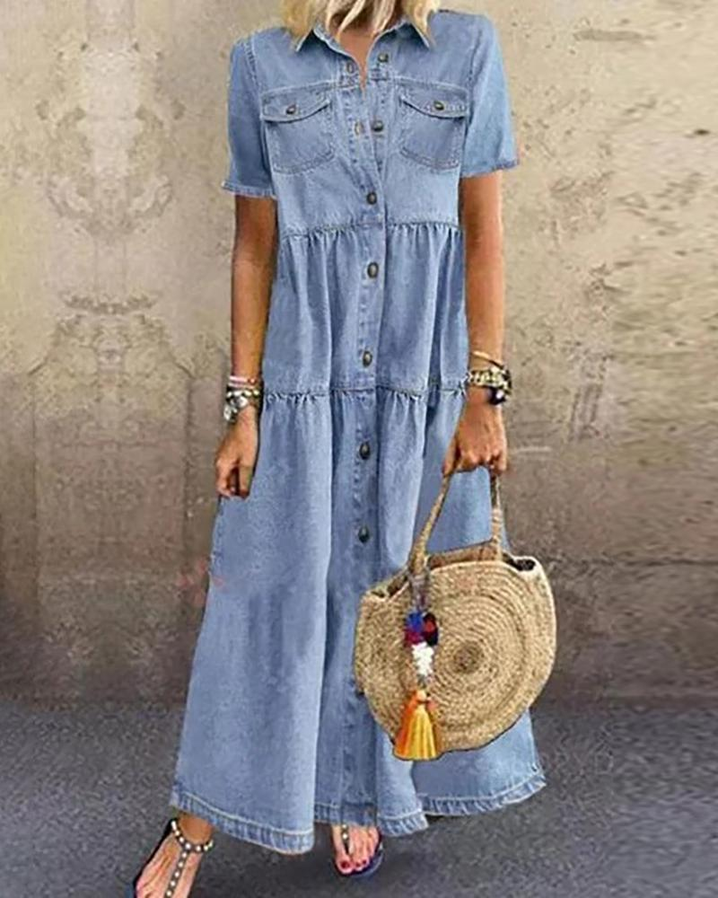 Buttoned Pocket Design Denim Casual Dress thumbnail