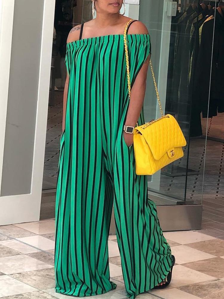 Contrast Stripes Off Shoulder Wide Leg Jumpsuit