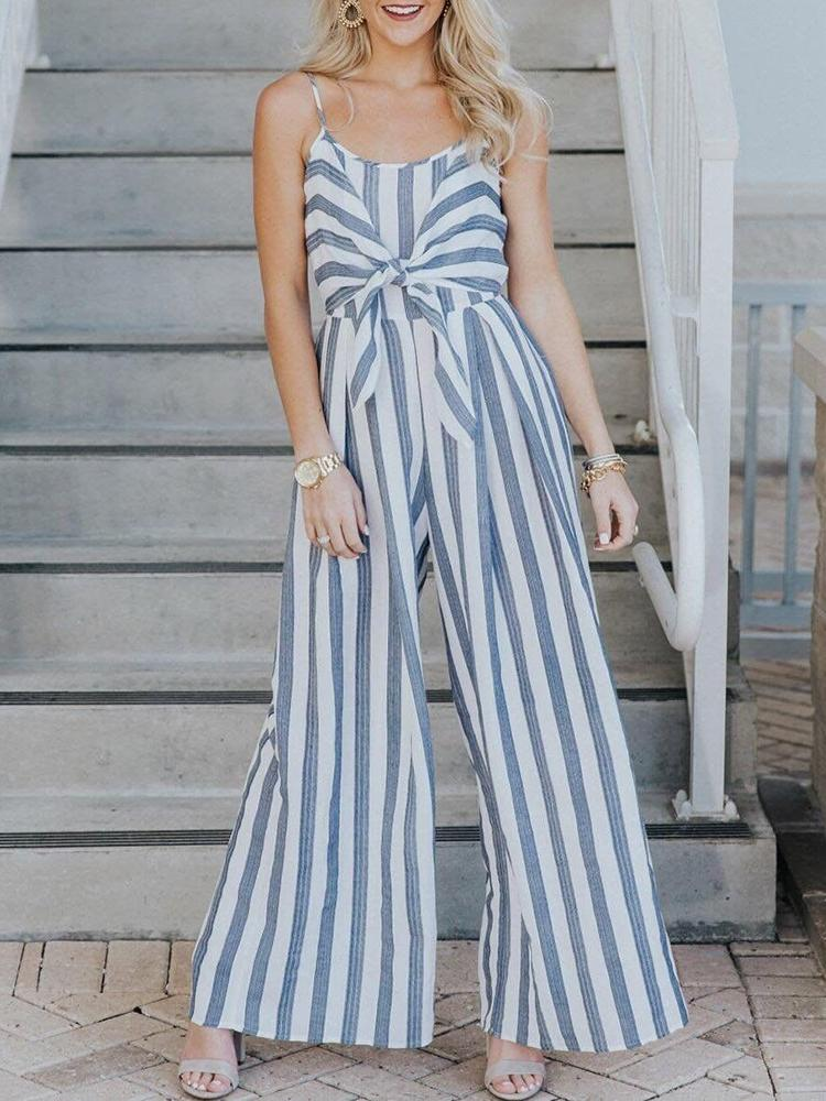 97456736baa Striped Knot Front Wide Leg Jumpsuit Online. Discover hottest trend ...