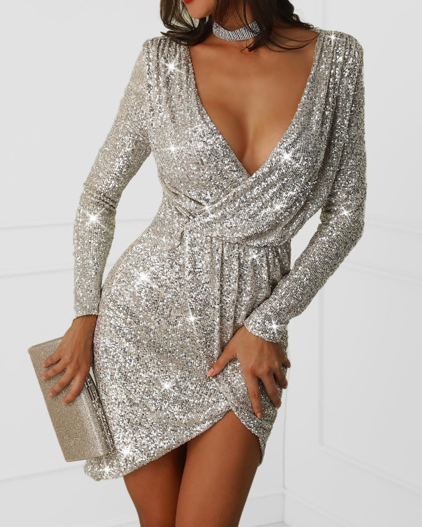 Платье Блестящее Короткое С Рукавами
