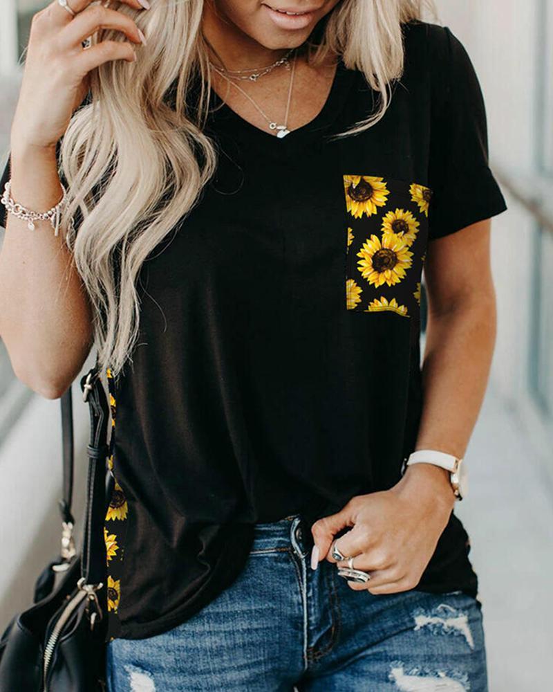 Sunflower Print Short Sleeve Casual T-shirt thumbnail