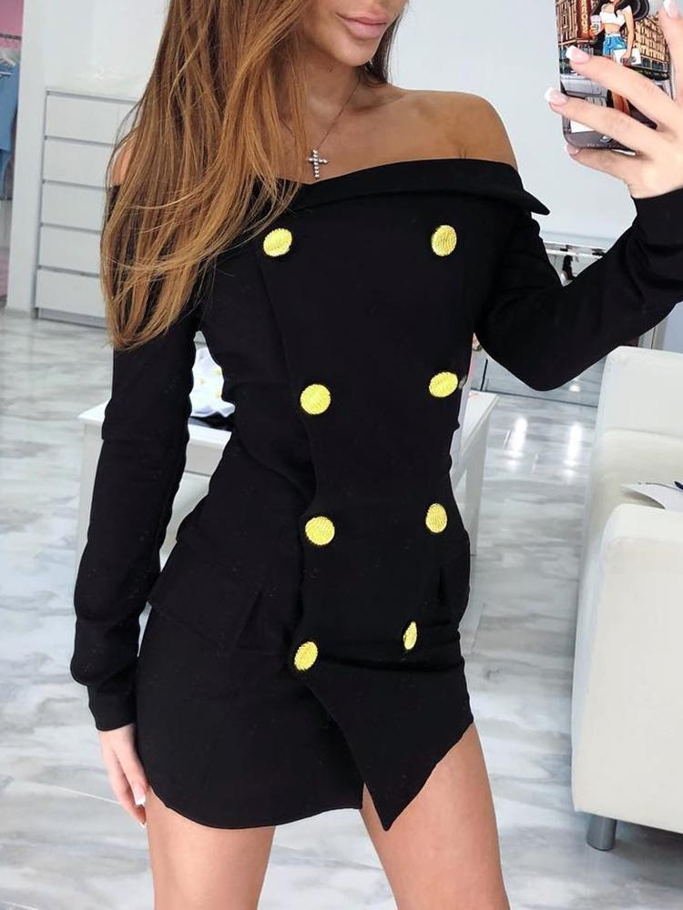 Double-Breasted Off Shoulder Mini Dress