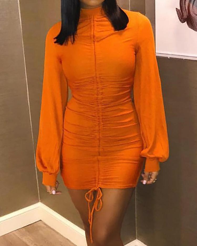 Drawstring Ruched Lantern Sleeve Bodycon Dress